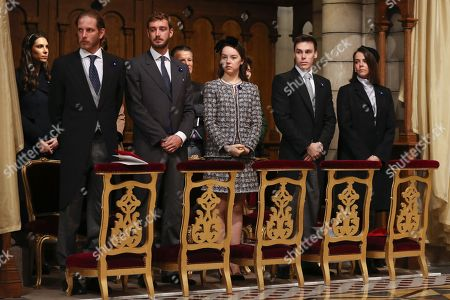 Andrea Casiraghi (L), Pierre Casiraghi (2-L), Princess Alexandra of Hanover (C), Louis Ducruet (2-R) and Pauline Ducruet (R) attend a mass at the cathedral during the celebrations marking Monaco's National Day, in Monaco, 19 November 2018. The National Day of Monaco is also known as The Sovereign Prince's Day.