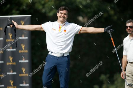 Arturo Del Puerto celebrates a great shot at the 19th Annual Emmys Golf Classic at the Wilshire Country Club on in Los Angeles
