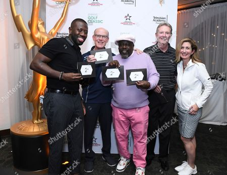Sheaun McKinney, Jerry Petry, Cedric the Entertainer, Dick Askin, Jodi Delaney. Jodi Delaney, executive director, Television Academy Foundation, right, poses with Sheaun McKinney, from left, Jerry Petry, Cedric the Entertainer and Dick Askin, second place winners at the 19th Annual Emmys Golf Classic at the Wilshire Country Club on in Los Angeles