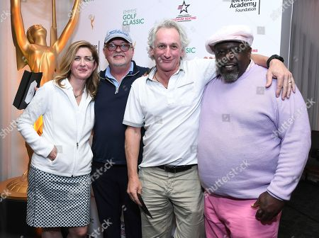 Matt Craven, Richard Winnie, Jodi Delaney, Cedric the Entertainer. Jodi Delaney, executive director of the Television Academy Foundation, left, and Cedric the Entertainer, right, flank 3rd place low net winning team from Universal Television lead by Matt Craven, second from right, and Richard Winnie, second from left, at the 19th Annual Emmys Golf Classic at the Wilshire Country Club on in Los Angeles