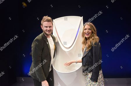 Stock Picture of Bobby Berk, Sabrina Soto. Interior designer Bobby Berk, and Sabrina Soto, a member of the Delta Design Trust, celebrate the unveiling of the Delta Avvalo, a conceptual design that invigorates the senses, at Cooper Hewitt, Smithsonian Design Museum, in New York