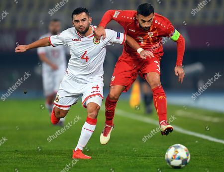Stock Picture of Macedonia's Ivan Trickovski (R) in action against Gibraltar player John Sergeant (L) during the UEFA Nations League match between FYR of Macedonia and Gibraltar in Skopje, The Former Yugoslav Republic of Macedonia, 19 November 2018.