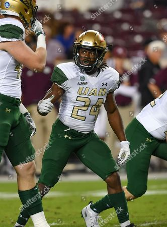 College Station, TX...UAB Blazer running back, James Noble III (24), during the NCAA football game between the Texas A&M Aggies and the UAB Blazers, in College Station, TX. (Absolute Complete Photographer & Company Credit: Joseph Calomeni / MarinMedia.org / Cal Sport Media)