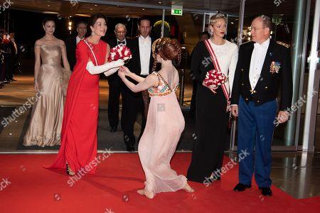 Princess Charlene of Monaco, Prince Albert II of Monaco, Princess Caroline of Hanover, Andrea Casiraghi and Beatrice Borromeo