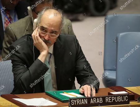 Stock Picture of Syrian United Nations Ambassador Bashar al-Jaafari listens during a meeting on Syria at the United Nations Security Council, at U.N. headquarters