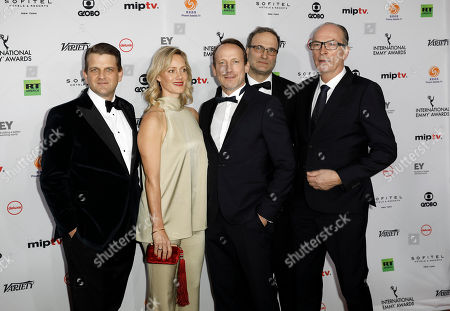From Left To Right: Leopold Hoesch, Anna Schudt, Wotan Wilke Mohring, Andreas Lautz and Herbert Knaup arrive for the 46th International Emmy Awards Gala at the New York Hilton hotel in New York, New York, USA, 19 November 2018.