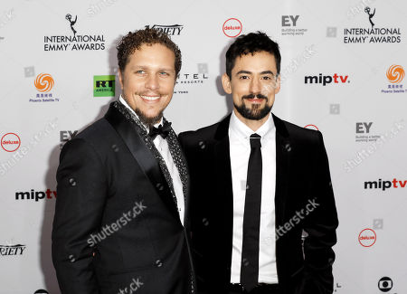 Gary Alazraki (L) and Mexican actor Luis Gerardo Mendez (R) arrive for the 46th International Emmy Awards Gala at the New York Hilton hotel in New York, New York, USA, 19 November 2018.