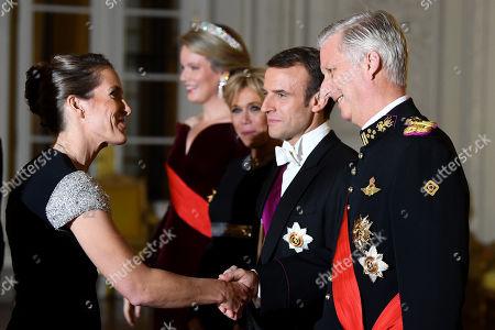 Stock Photo of Emmanuel Macron, King Philippe, Queen Mathilde, Brigitte Trogneux, Justine Henin