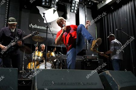 Graham Fellows during soundcheck for Jilted John concert with Steve Halliwell, Martyn Barker and Andy Hobson at The Haunt, Brighton, UK on 7th October 2018 during Jilted John's 40th Anniversary tour