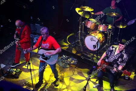 Graham Fellows performing as Jilted John with Steve Halliwell, Martyn Barker and Andy Hobson at The Haunt, Brighton, UK on 7th October 2018 during Jilted John's 40th Anniversary tour
