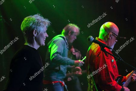 Graham Fellows performing as Jilted John with Steve Halliwell and Clare Fellows at The Haunt, Brighton, UK on 7th October 2018 during Jilted John's 40th Anniversary tour