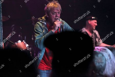 Graham Fellows performing as Jilted John with Andy Hobson at The Haunt, Brighton, UK on 7th October 2018 during Jilted John's 40th Anniversary tour