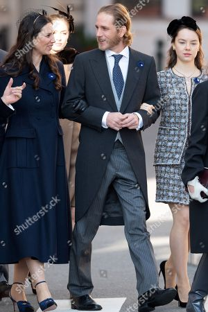 Andrea Casiraghi and his wife Tatiana Santo Domingo and Princess Alexandra of Hanover arrive at the Cathedral of Monaco before a mass during the Monaco National Day Celebrations