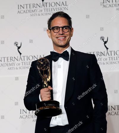 United States writer Greg Berlanti poses with his Founders Award during the 46th International Emmy Awards Gala at the New York Hilton hotel in New York, New York, USA, 19 November 2018.