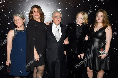 Honoree Martin Scorsese, center, poses with daughters Domenica Cameron-Scorsese and Cathy Scorsese, wife Helen Morris and their daughter Francesca Scorsese