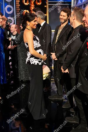 Meghan Duchess of Sussex with Take That - Howard Donald, Mark Owen and Gary Barlow