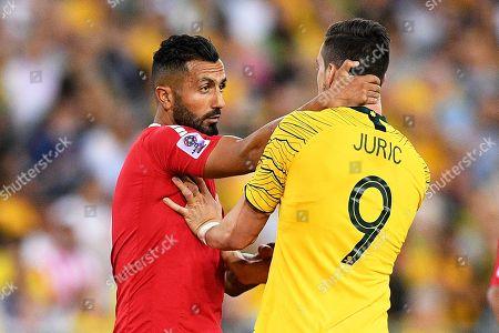 Joan Oumari (L) of Lebanon in action against Tomi Juric (R) of Australia during the International Friendly soccer match between Australia and Lebanon in Sydney, Australia, 20 November 2018.