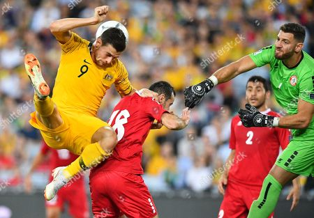 Tomi Juric (L) of Australia in action against Walid Ismail (C) of Lebanon during the International Friendly soccer match between Australia and Lebanon in Sydney, Australia, 20 November 2018.