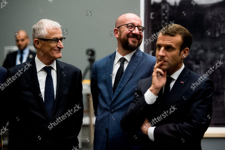 Geert Bourgeois, Charles Michel, Emmanuel Macron visit the Museum of Fine Arts, Ghent