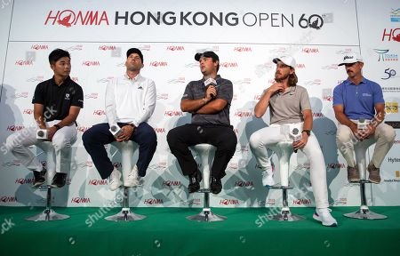 Golf players (L-R) Steven Lam of Hong Kong, Sergio Garcia of Spain, Patrick Reed of the USA, Tommy Fleetwood og England, and Wade Ormsby of Australia attend a press conference in Hong Kong, China, 20 October 2018. They will take part in the Honma Hong Kong Open golf tournament, which will take place from 22 to 25 November 2018.