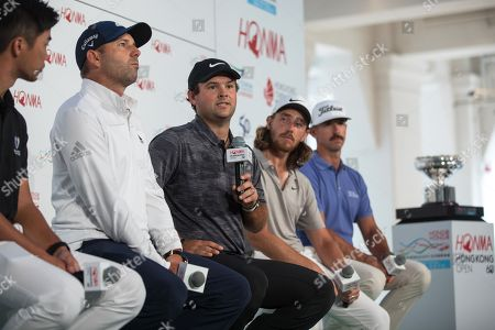 Stock Picture of Golf players (L-R) Steven Lam of Hong Kong, Sergio Garcia of Spain, Patrick Reed of the USA, Tommy Fleetwood og England, and Wade Ormsby of Australia attend a press conference in Hong Kong, China, 20 October 2018. They will take part in the Honma Hong Kong Open golf tournament, which will take place from 22 to 25 November 2018.