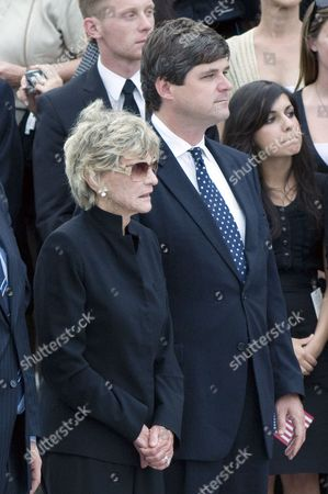 Jean Kennedy Smith (left), the last surviving sibling of former U.S. Senator Edward M. 'Ted' Kennedy, and her son, William Kennedy Smith, at the ceremony at the U.S. Capitol