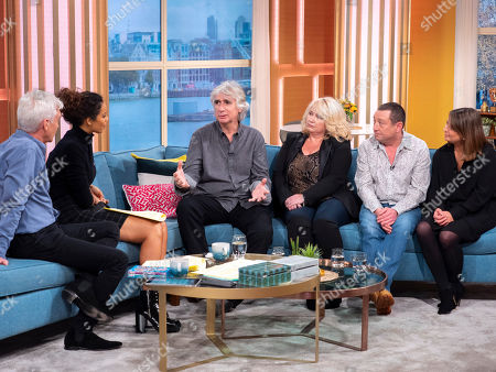Stock Picture of Phillip Schofield and Rochelle Humes with Phil Redmond, Paula Ann Bland (Claire Scott), Lee MacDonald (Zammo McGuire) and Lisa York (Julie Marchant)