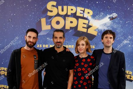 Dani Rovira (L), Alexandra Jimenez (2R) and Julian Lopez (R) pose with film director Javier Ruiz Caldera(2L) during the presentation of the film 'Superlopez' in Madrid, Spain, 20 November 2018. The film is based in the Spanish comics that narrate the adventures of the Spanish Superman created by Spanish cartoonist in Jan 1973.