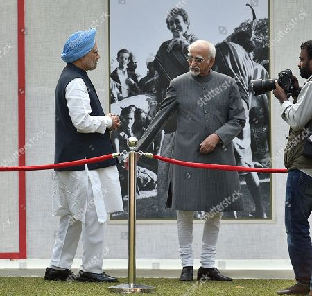 Stock Image of Former Vice President Mohammad Hamid Ansari and former Prime Minister Manmohan Singh