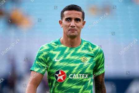 Australian forward Tim Cahill (4) during warm up at the international soccer match between Australia and Lebanon at ANZ Stadium in NSW, Australia.