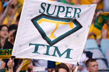 Australian supporters with a tribute sigh to Australian forward Tim Cahill (4) at the international soccer match between Australia and Lebanon at ANZ Stadium in NSW, Australia.