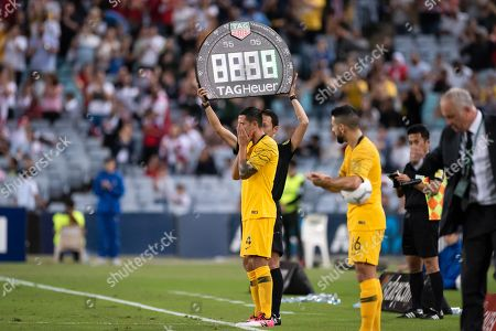 An emotional Australian forward Tim Cahill (4) ready to play his last game for Australia at the international soccer match between Australia and Lebanon at ANZ Stadium in NSW, Australia.