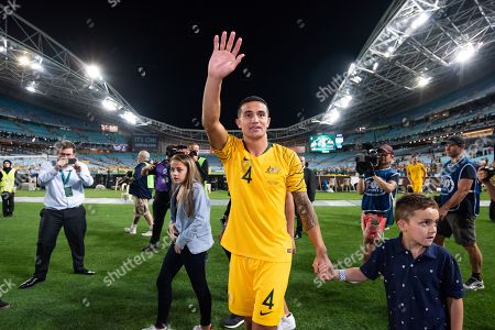 Australian forward Tim Cahill (4) thanks fans after the game at the international soccer match between Australia and Lebanon at ANZ Stadium in NSW, Australia.