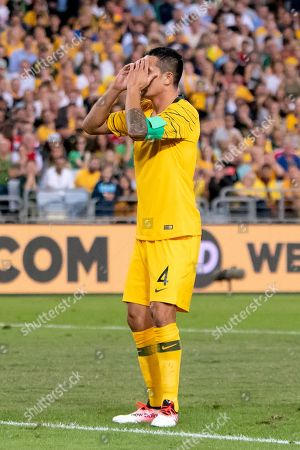Australian forward Tim Cahill (4) disappointed after missing a chance at the international soccer match between Australia and Lebanon at ANZ Stadium in NSW, Australia.