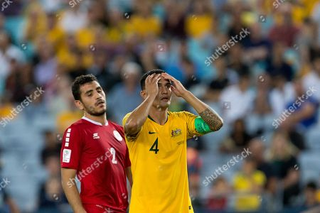 Australian forward Tim Cahill (4) puts his hands to his head at the international soccer match between Australia and Lebanon at ANZ Stadium in NSW, Australia.