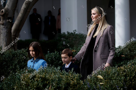 Ivanka Trump (R), her daughter Arabella Kushner (L) and her son Joseph Kushner (C) walk into the Rose Garden prior to the pardoning of the National Thanksgiving Turkey Peas during a ceremony at the White House in Washington, DC, USA, 20 November 2018. Following it's pardon the National Thanksgiving Turkey will reside at Gobbler's Rest on the campus of Virginia Tech.