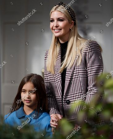 Ivanka Trump (R) and her daughter Arabella Kushner (L) walk into the Rose Garden prior to the pardoning of the National Thanksgiving Turkey Peas during a ceremony at the White House in Washington, DC, USA, 20 November 2018. Following it's pardon the National Thanksgiving Turkey will reside at Gobbler's Rest on the campus of Virginia Tech.