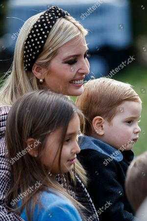 Ivanka Trump, her daughter Arabella Kushner (L) and her son Theodore Kushner (R) in the Rose Garden prior to the pardoning of the National Thanksgiving Turkey Peas during a ceremony at the White House in Washington, DC, USA, 20 November 2018. Following it's pardon the National Thanksgiving Turkey will reside at Gobbler's Rest on the campus of Virginia Tech.