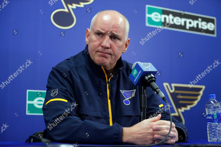 St. Louis Blues general manager Doug Armstrong speaks during a news conference naming Craig Berube interim head coach of the NHL hockey team, in St. Louis. The Blues fired head coach Mike Yeo following a 2-0 loss to the Los Angeles Kings Monday night
