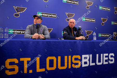 Stock Picture of Craig Berube, left, speaks during a news conference along side St. Louis Blues general manager Doug Armstrong after Berube was named interim head coach of the NHL hockey team, in St. Louis. The Blues fired head coach Mike Yeo following a 2-0 loss to the Los Angeles Kings Monday night