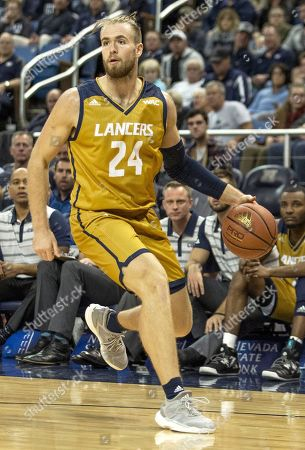 California Baptist forward Mike Henn (24) against Nevada in the second half of an NCAA college basketball game in Reno, Nev