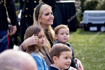 Ivanka Trump, Joseph Frederick Kushner, Arabella Rose Kushner, Theodore James Kushner. Ivanka Trump, the daughter of President Donald Trump, sits with her children, Joseph Frederick Kushner, bottom center, Arabella Rose Kushner, left, and Theodore James Kushner, center right, before President Donald Trump and first lady Melania Trump arrive for a ceremony to pardon the National Thanksgiving Turkey in the Rose Garden of the White House in Washington