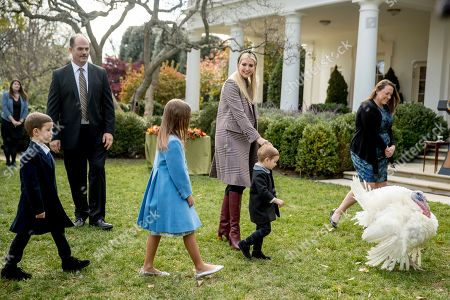 Ivanka Trump, Joseph Frederick Kushner, Arabella Rose Kushner, Theodore James Kushner. Ivanka Trump, the daughter of President Donald Trump, brings her children, from left, Joseph Frederick Kushner, Arabella Rose Kushner, and Theodore James Kushner, over to pet 'Peas', one of the two National Thanksgiving Turkeys before President Donald Trump arrives to pardon the bird in the Rose Garden of the White House in Washington
