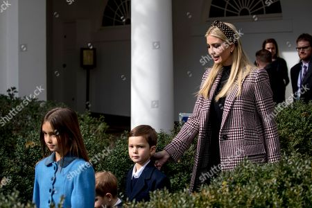 Stock Photo of Ivanka Trump, Arabella Rose Kushner, Theodore James Kushner, Joseph Frederick Kushner. Ivanka Trump, the daughter of President Donald Trump, arrives with her children from left, Arabella Rose Kushner, Theodore James Kushner, and Joseph Frederick Kushner before President Donald Trump and first lady Melania Trump arrive for a ceremony to pardon the National Thanksgiving Turkey in the Rose Garden of the White House in Washington