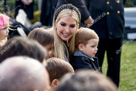 Ivanka Trump, Joseph Frederick Kushner, Arabella Rose Kushner, Theodore James Kushner. Ivanka Trump, the daughter of President Donald Trump, sits with her children, Joseph Frederick Kushner, bottom center, Arabella Rose Kushner, left, and Theodore James Kushner, right, before President Donald Trump and first lady Melania Trump arrive for a ceremony to pardon the National Thanksgiving Turkey in the Rose Garden of the White House in Washington