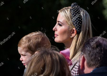 Ivanka Trump (R) and her son Theodore Kushner (L) arrive to watch the pardoning of the National Thanksgiving Turkey 'Peas' in the Rose Garden of the White House in Washington, DC, USA, 20 November 2018. Following it's pardon the National Thanksgiving Turkey will reside at Gobbler's Rest on the campus of Virginia Tech.