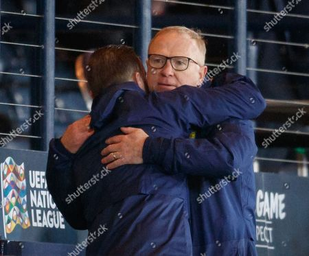 Scotland Manager Alex McLeish celebrates with his assistant James McFadden after the final whistle.