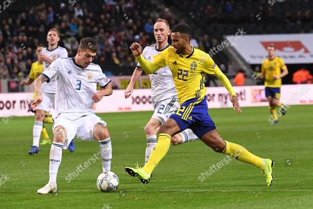 Russia´s  Roman Neustadter and Sweden´s Isaac Kiese Thelin during the UEFA Nations League soccer match between Sweden and Russia at Friends Arena in Stockholm, Sweden November 20, 2018.