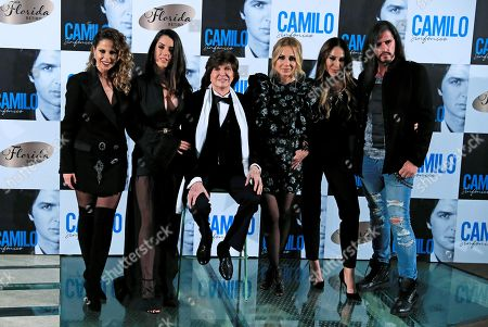 Camilo Sesto (3-L) poses with Spanish singers Pastora Soler, Ruth Lorenzo, Marta Sanchez, Monica Naranjo and son Camilo during the presentation of his latest album 'Camilo Sinfonico' in Madrid, Spain, 20 November 2018.