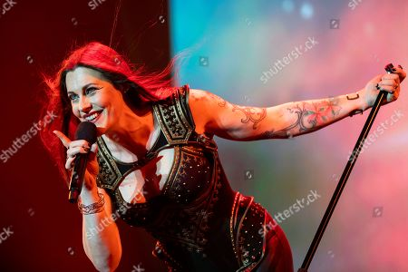Floor Jansen, lead vocalist of Finnish symphonic metal band Nightwish performs live at the Papp Laszlo Budapest Sports Arena in Budapest, Hungary, 20 November 2018.